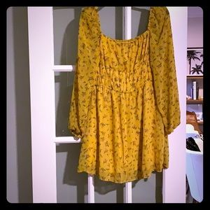 Nasty Gal Yellow Floral Dress